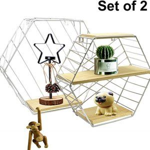 Wire&Wooden  Decorative Hexagon Display Shelves